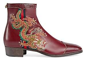 Gucci Men's Leather Boot With Dragon