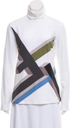 Fendi Graphic Print Long Sleeve Turtleneck w/ Tags