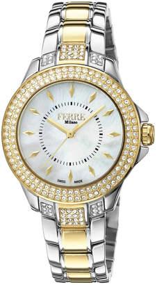 Ferré Milano Women's 34mm Stainless Steel 3-Hand Glitz Watch with Bracelet, Steel/Golden
