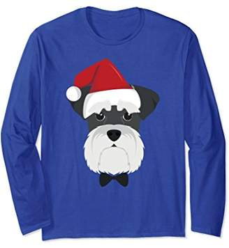 Merry Christmas Schnauzer Dog with Santa Hat Long Sleeve Tee