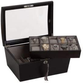 Mele Royce Locking Glass Top Wooden Watch Box