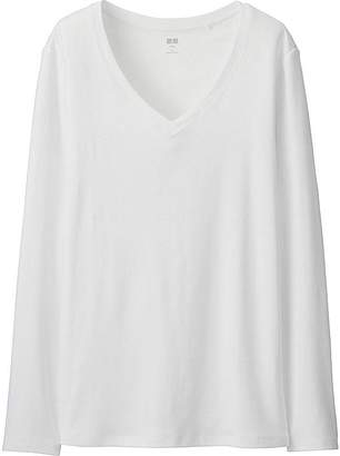 UNIQLO Women's Supima-« Cotton V-Neck Long Sleeve T-Shirt $14.90 thestylecure.com