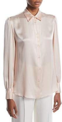 Loro Piana Noah Button-Front Long-Sleeve Silk Satin Blouse