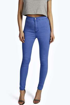 boohoo Lara True Blue High Rise Tube Jeans