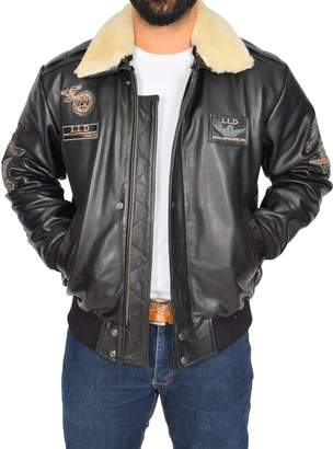 Spitfire A1 FASHION GOODS Mens Black Leather PILOT Jacket Aviator Bomber Top Gun AIR FORCE Coat