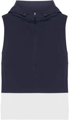 Tory Sport Hooded Stretch-jersey And Shell Vest - Midnight blue