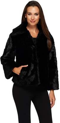 Dennis Basso Platinum Chevron Cut Faux Fur Shrug Jacket