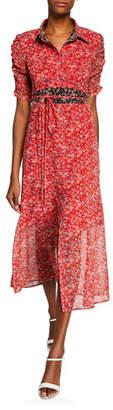 Nanette Lepore Frontier Floral Midi Dress w/ Self-Tie