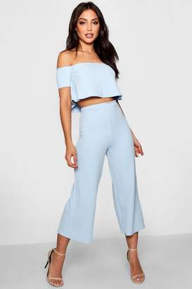 boohoo Lexi Off The Shoulder Top And Culotte Co-Ord Set $30 thestylecure.com