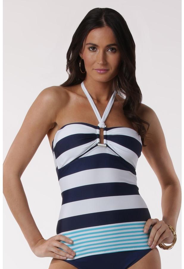 Lauren Ralph Lauren Regatta Stripe Ring Front Bandini Top (Indigo/Resort Blue) - Apparel