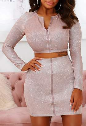Pink Boutique Kara Champagne Sparkle Zip Up Stretch Two Piece