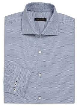 Saks Fifth Avenue COLLECTION Bird's Eye Button Front Regular-Fit Dress Shirt