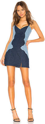 Understated Leather Combo Denim Mini Dress