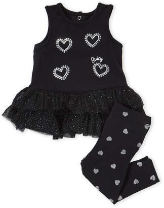 Juicy Couture Newborn Girls) Two-Piece Black Heart Tutu Tunic & Leggings Set