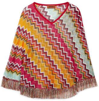 Missoni Fringed Crochet-knit Poncho - Orange