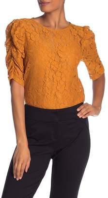 Nanette Lepore NANETTE Lace Shirred Elbow Sleeve Top