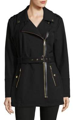 MICHAEL Michael Kors Belted Soft Shell Moto Zip Jacket