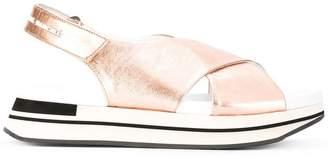 Manuel Barceló metallic sling-back platform sandals