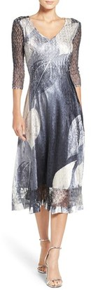 Women's Komarov Charmeuse & Lace A-Line Dress $308 thestylecure.com