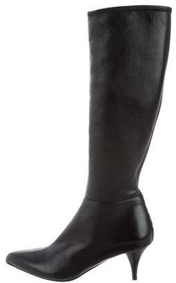 Prada Sport Leather Pointed-Toe Boots
