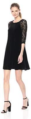 Julian Taylor Women's 3/4 Lace Sleeve Velvet Dress