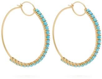 Irene Neuwirth 18kt gold & turquoise hoop earrings