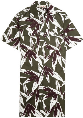 Marni - Printed Cotton And Linen-blend Twill Shirt Dress - Army green