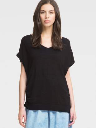 DKNY Short-Sleeve Slub Pullover With Side Ties