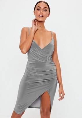 Missguided Grey Slate Strappy Slinky Wrap Bodycon Dress