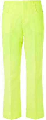 Acne Studios Neon-Yellow Jabir Linen-Blend Trousers