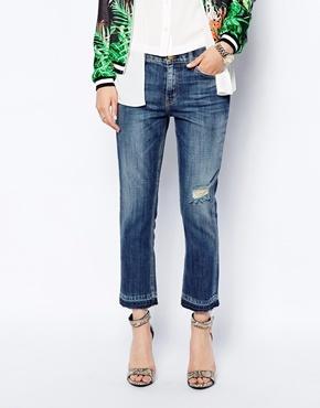 Current/Elliott Current Elliott Boyfriend Jeans Distressing & Raw Hem