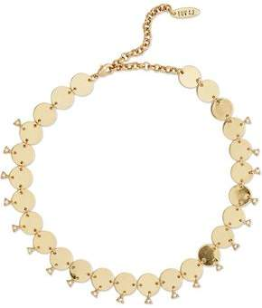 Luv Aj Dangle Disco Gold-Tone Crystal Choker