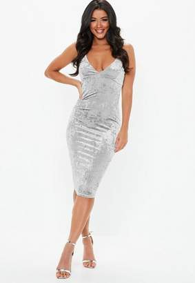 Missguided Gray Crushed Velvet Strappy Midi Dress