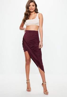 Missguided Burgundy Slinky Drape Mini Skirt
