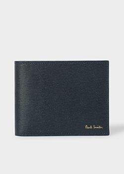 Paul Smith Men's Navy Saffiano Leather Money Clip Wallet