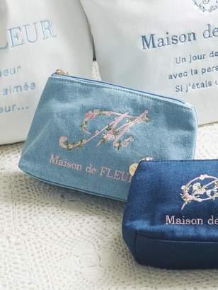 Maison de Fleur (メゾン ド フルール) - Maison de FLEUR Lデニムイニシャル刺繍ポーチ メゾン ド フルール バッグ