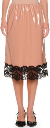 No.21 No. 21 Patent Faux-Leather A-Line Skirt w/ Lace Trim