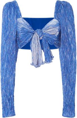 Rosie Assoulin Reversible Knotted Plissé Crop Top