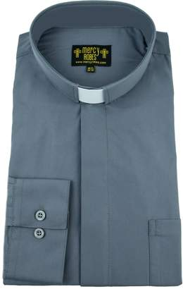 Mercy Robes Mens Dark Grey Long Sleeve Standard Cuff Tab Collar Clergy Shirt (, Dark Grey)