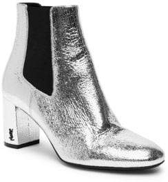 Saint Laurent Loulou Metallic Leather Block Heel Chelsea Booties