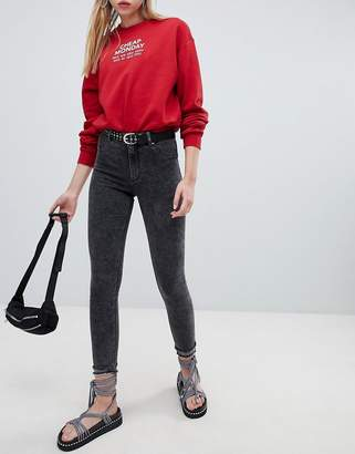 Cheap Monday skinny high rise jean with destroyed hem