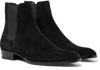 Saint Laurent Wyatt Suede Chelsea Boots - Men - Black