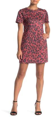 Ash MAX & Animal Patterned Faux Suede T-Shirt Dress