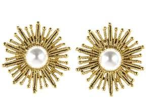 Oscar de la Renta Pearl Sun Star Button Earrings