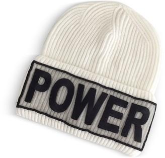 Versace Power Manifesto White Wool Knit Hat