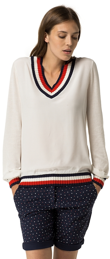 Tommy Hilfiger Fabric Mix V-Neck Sweater