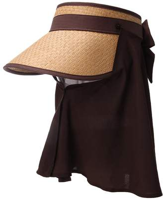 Siggi Ladies Wide Brim Straw Visor Cap Rollable Summer Sun Hat w/Detachable Face Mask Neck Flap UPF50 Khaki