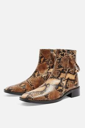 c498268cc7f Topshop AUBREY Snake Print Flat Leather Boots
