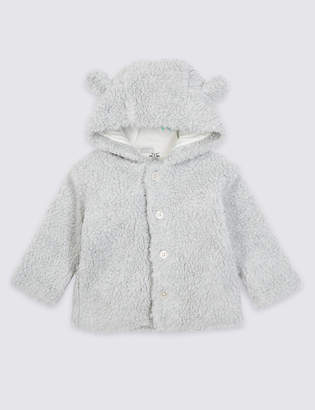 Marks and Spencer Cotton Rich Fleece Hooded Jacket