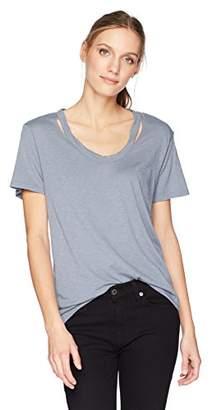 Michael Stars Women's Luxe Slub Short Sleeve U-Neck Cut Out Tee